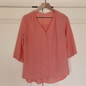 Pink Blouse with Silver Buttons